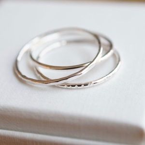3  skinny silver stacking rings